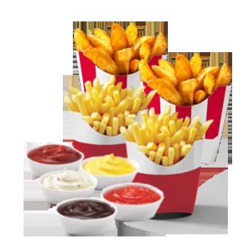 Купон 4037 в КФС | 2 Картофеля стандартных (фри или по-деревенски) + 2 Соуса на выбор